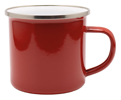 farbige Emaille Tasse in Rot